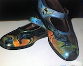 Handpainted Raven Shoes - Harry Potter Ravenclaw - Size 9 1/2 W