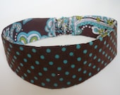 Reversible headband Chocolate corduroy with blue dots and Chocolate cotton with floral paisley design sizes 6M 12M 18M 24M 2T 3T 4T 5T 6T 7 8 9 10 11