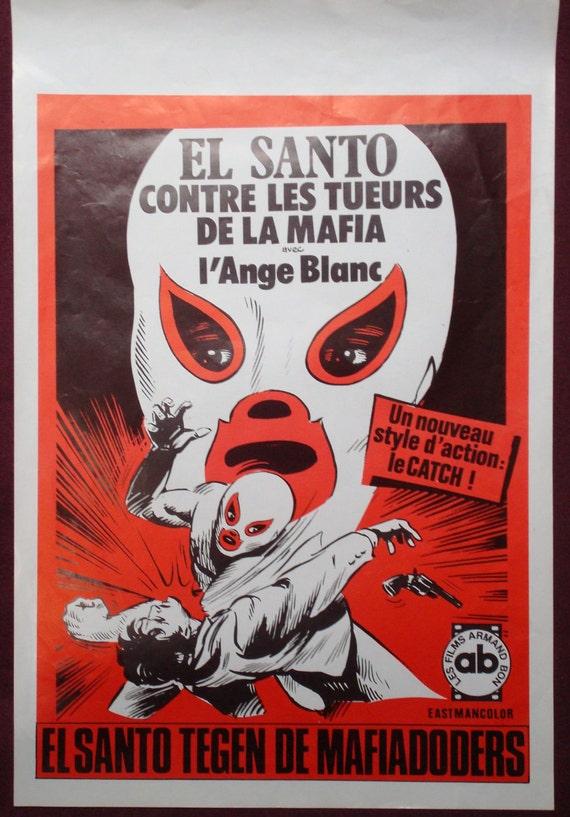 """1970 """"Santos contra los asesinos de la mafia"""" Belgium Movie poster"""
