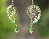 Green Paisley - earrings