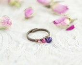 Hammered copper ring with amethyst ruby and tourmaline gemstones  pink raspberry fuchsia patina antiqued - FREE SHIPPING