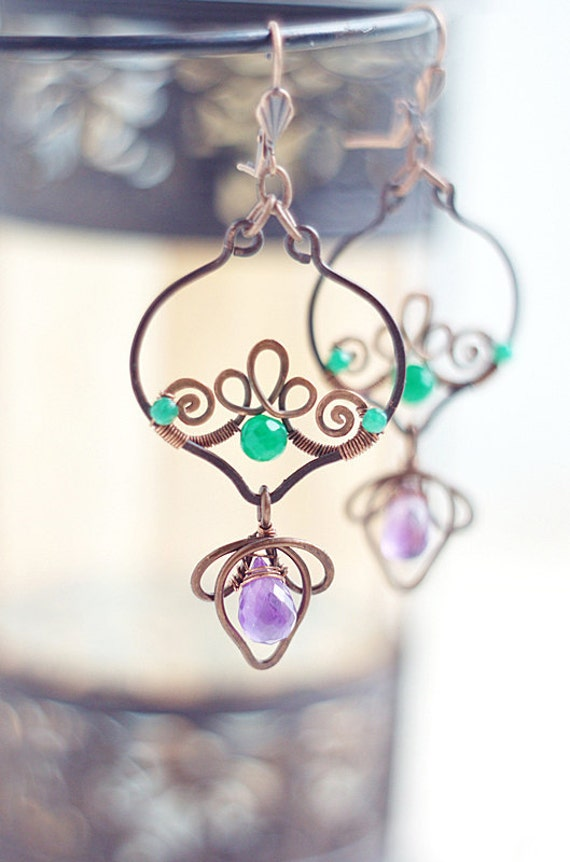 Wire wrapped  copper earrings -dangle oxidized antiqued gypsy boho - emerald green amethist purple - lotus arabesque