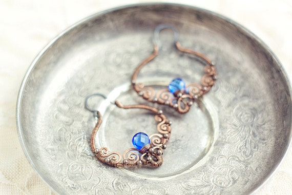 Wire wrapped  copper filigree earrings with navy blue crystal  - oxidized antiqued hammered - FREE SHIPPING