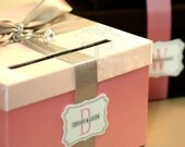 With FREE MONOGRAM Wedding Card Box Money Holder  - Customize