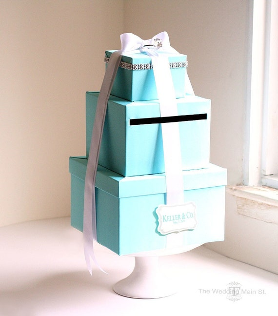 Wedding Gift Box Tiffany Blue : Card Box Tiffany Blue Card Box Money Holder Wedding Card Boxes Gift ...
