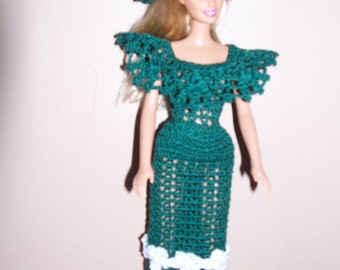 Green hand crochet Barbie size doll dress and hat