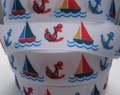 7/8 ANCHORS and SAILBOATS on White Grosgrain Ribbon 5 Yards Making Hairbow Supplies Printed Ribbon by the Yard we sell Wholesale