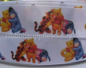"""7/8"""" 1"""" Grosgrain Ribbon WINNIE The POOH Inspired 5 YARDS Making Hair Bow Supplies Printed Ribbon by the yard we sell wholesale ribbon"""