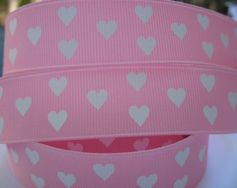 7/8 White HEARTS On PINK Grosgrain Ribbon Hair Bow Making Supplies Scrapbooking Sewing Crafts