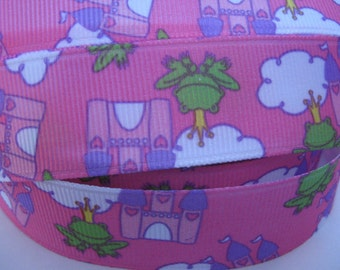 7/8 PRINCE FROG CASTLE on Pink Grosgrain Ribbon Making Hair Bow Scrapbooking Scrapbook Craft Supplies