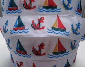 7/8 ANCHORS and SAILBOATS on White Grosgrain Ribbon Making Hairbow Supplies Printed Ribbon by the Yard we sell Wholesale