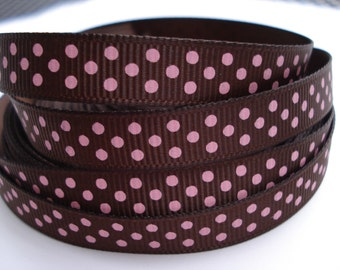 3/8 BROWN GROSGRAIN RIBBON Pink Dots Making Hair Bow Supplies Printed Ribbon By the Yard we sell wholesale