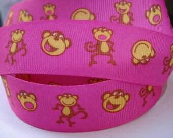 7/8 MONKEY SHOCKING PINK Grosgrain Ribbon  Making Hair Bow Scrapbooking Scrapbook Craft Supplies