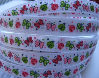 3/8 Butterfly And Lady Bugs Garden Friends Butterflies Mtmg Made To Match Gymboree GROSGRAIN RIBBON Printed By the Yard Hair Bows