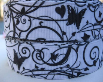7/8 Black Swirls and Butterflies on White Printed Grosgrain Ribbon Hair Bow Supplies Printed ribbon by the yard