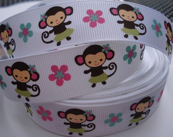 7/8 Jungle Gem MONKEY MTMG Made To Match Gymboree Printed Grosgrain RIBBON scrapbooking craft Hair Bows we sell wholesale