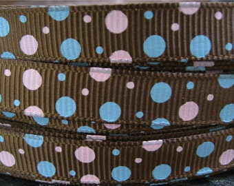 3/8 Pink and Blue Dots on Brown GROSGRAIN RIBBON Hair Bow Supplies Printed Ribbon by the Yard we sell Wholesale