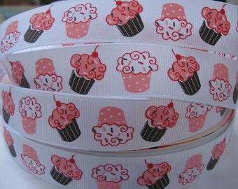 7/8 CUPCAKE Pink Brown Grosgrain Ribbon Making Hair Bow Supplies Printed Ribbon by the yard we sell wholesale ribbon