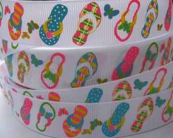 7/8 FLIP FLOP Shoes on White Grosgrain Ribbon 5 YARDS Making Hair Bow Supplies Printed by the yard