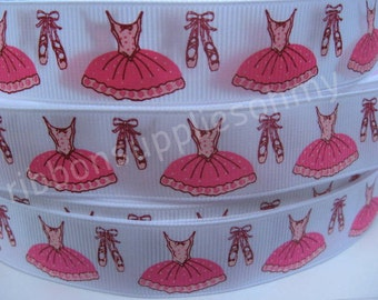 7/8 Ballerina Dress Tutu and Ballet Shoes on White Grosgrain Ribbon 5 YARDS Printed By the Yard Hair Bow Making Sewing Crafts