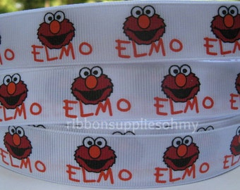 "7/8"" Grosgrain Ribbon ELMO Inspired 5 YARDS Making Hair Bow Supplies Printed Ribbon by the yard we sell wholesale ribbon"