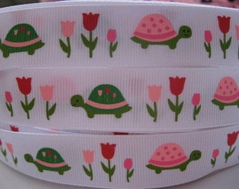 7/8 TURTLE TULIP GARDEN Mtmg Made To Match Gymboree Line Grosgrain Printed Ribbon 5 Yards Craft scrapbooking Hair Bows supplies by the yard