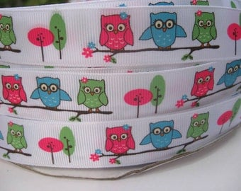 7/8 OWLS HOMECOMING Owl MTMG Made To Match Gymboree Printed Grosgrain Ribbon 5 Yards scrapbooking craft Hair Bows we sell wholesale