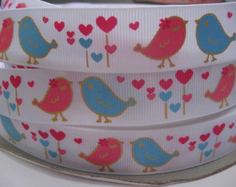 7/8 LOVE BIRDS Pink and Blue on WHITE Grosgrain Printed Ribbon By the yard 5 Yards Making Hair Bow Hair Clips Scrapbook Supplies