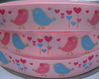 7/8 Ribbon By the yard LOVE BIRDS Pink and Blue on PINK Grosgrain Printed Ribbon 5 Yards Headband Making Kit Hair Bow Hair Clips Supplies