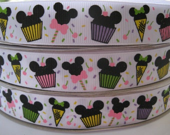 7/8 MICKEY MINI Mouse Inspired Grosgrain Ribbon by the yard, Personalized Ribbon, Birthday ribbon, Sweet Treats Mouse Head 5 Yards Hair Bow