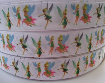 "7/8"" 1"" Grosgrain Ribbon TINKERBELL  Inspired 5 YARDS Making Hair Bow Supplies Printed Ribbon by the yard we sell wholesale ribbon"