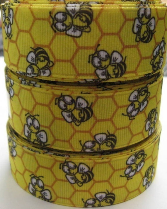 7/8 BUMBLE BEE With Honey Comb on Yellow Grosgrain Ribbon 6 1/2 YARDS Hair Bow Making Supplies Scrapbooking Sewing Crafts