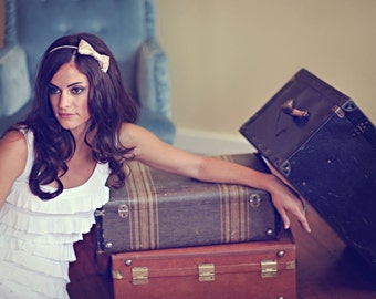 Meredith - Classic Shimmery Bow Headband - Silver headband