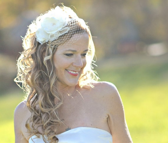 Wedding Hairstyles With Headband And Veil: Items Similar To Flower Bird Cage Veil On A Headband