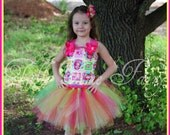 Strawberry Shortcake Hot pink yellow lime Lemonade fruity corset birthday tutu dress 12m 18m 2t 3t 4t 5t