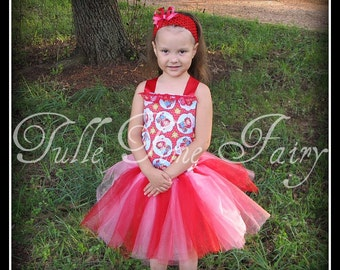 Red pink Strawberry Shortcake corest and tutu birthday party pageant dress any size 12 months 18 months 2t 3t 4t 5t 6