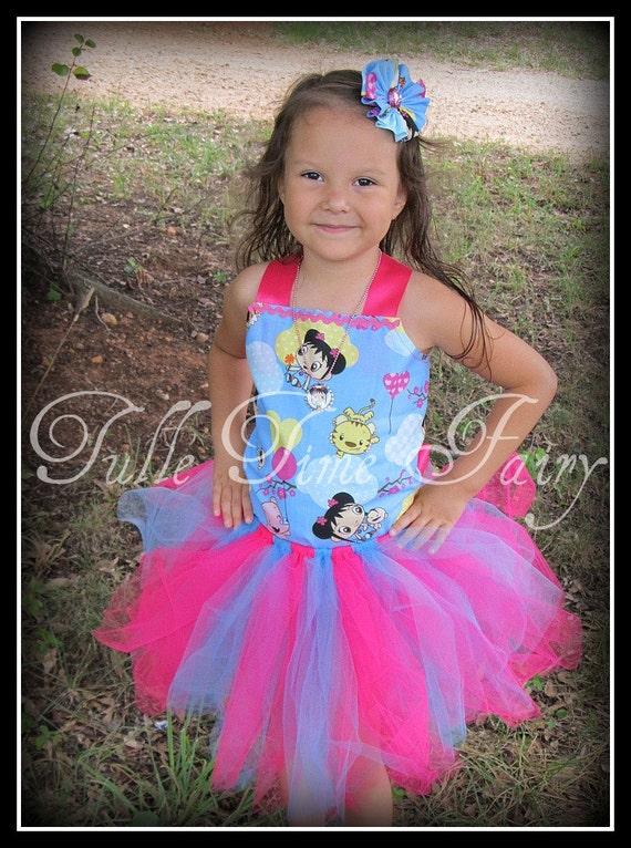 Ni hao kai lan Corset Birthday TuTu dress any size 12 Months 18 months 2t 3t 4t 5t 6