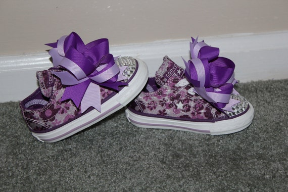 Purple Lavender One Star Converse Crystal Bling Shoes Size 5