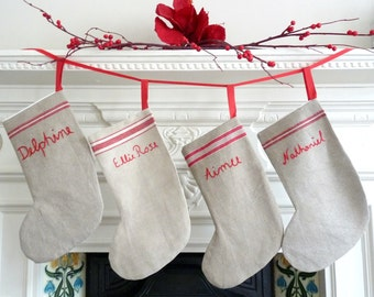 Personalised Vintage Linen Christmas Stocking - Large