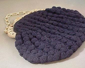 Crochet Corde Navy Handbag