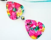 Guitar Pick Necklace Pink Tie Dye