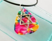 Guitar Pick Necklace Star of David Pink Tie Dye