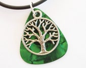 Guitar Pick Necklace Tree of Life Green Pearloid