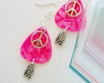 Guitar Pick Earrings Pink Pearloid Peace and Love