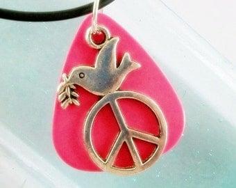 Pink Guitar Pick Necklace Dove Peace