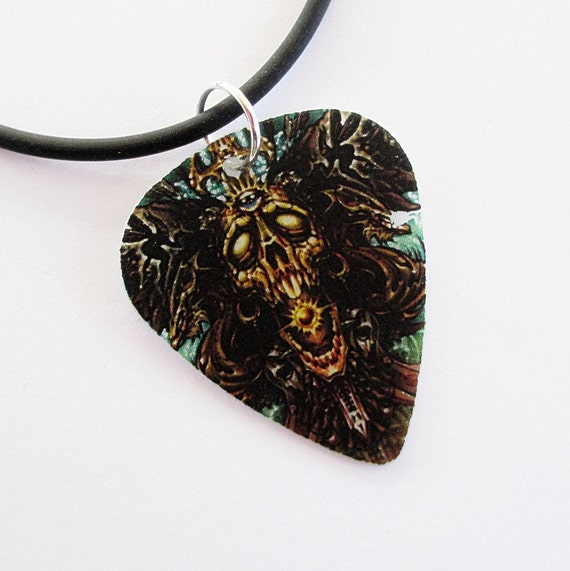 Guitar Pick Necklace Wicked Skull D
