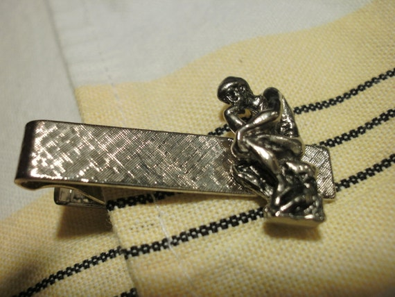 """Vintage The Thinker Tie Clip Or A """"Tebow"""" Pose"""