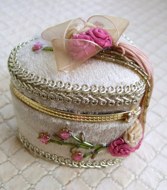 Mini Heart Shaped Shabby Chic Jewelry Box With Bead Work and Ribbon Roses