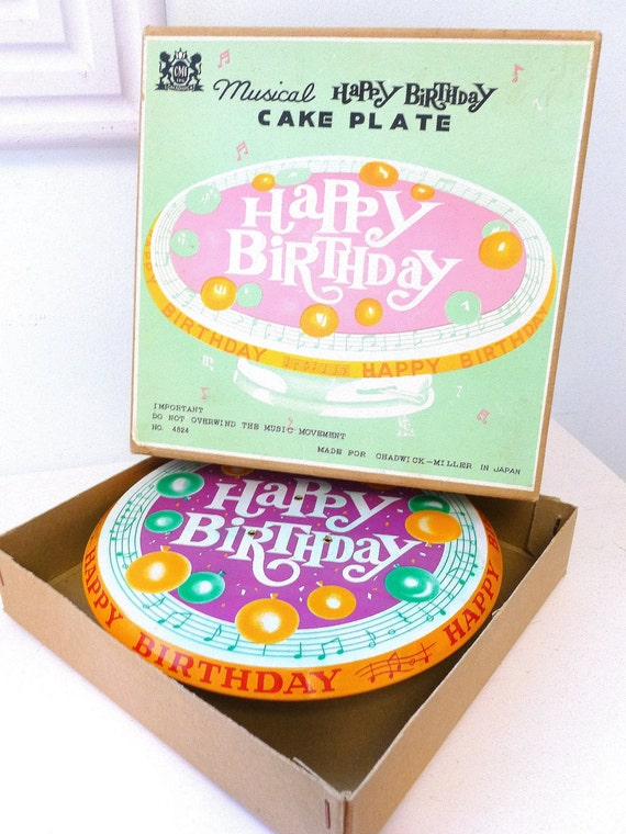 Vintage Tin Musical Happy Birthday Cake Plate Chadwick Miller Made in Japan 1960s 1970s