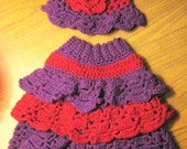 Beautiful Crochet Ruffled Skirt and Hat Set Sized At  24month- 3T Pattern PDF